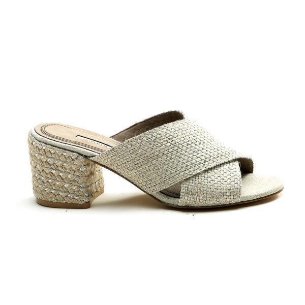 Sandalia tacón espiga plata